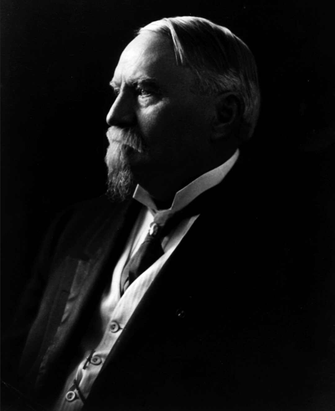 Black and white photo of Harrison Gray Otis, with walrus mustache and beard