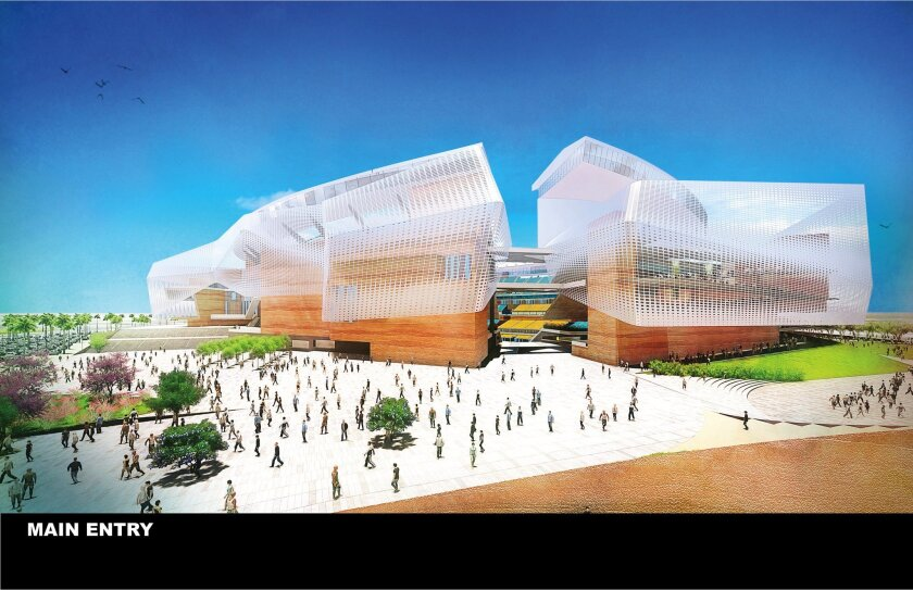 This undated artist rendering provided by the City and County of San Diego and unveiled in San Diego Monday, Aug. 10, 2015, shows a view of a new $1.1 billion stadium proposed for the San Diego Chargers NFL football team. The city and county's updated plans for a new $1.1 billion stadium were immed