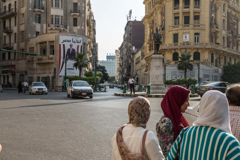 Talaat Harb Square in downtown Cairo was once the scene of demonstrations. Protests are now illegal, and the streets remain quiet.