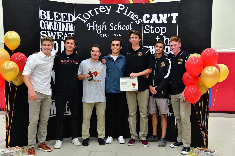 "Torrey Pines boys soccer recently won ""Best Team"" at the Freddie Awards hosted by TPHS ASB. (L-R) Ted Merrifield, Palmer Bonebrake, Blake Muchnick, Jordan Watkins, Santiago Majewski, Erik Herrera, Connor Wood"