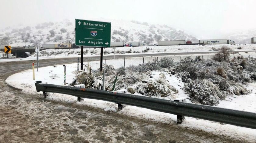 A ramp to the 5 Freeway is closed at the Tejon Pass on Jan. 14, 2019.