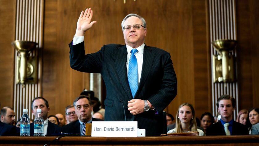 David Bernhardt nomination hearing to head the Department of Interior, Washington, USA - 28 Mar 2019