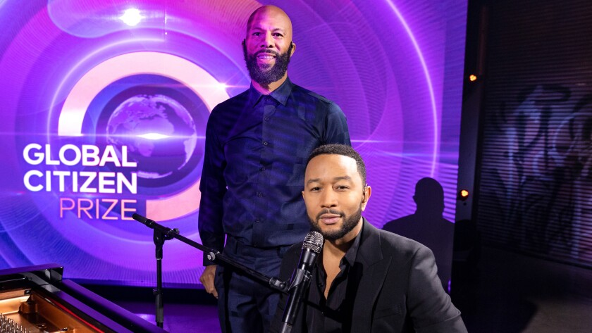 """Common, left, and John Legend in """"Global Citizen Prize"""" on NBC."""