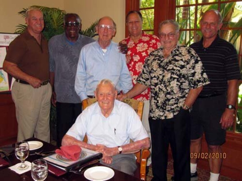 Coach Walt Harvey, seated, was treated to a 92nd birthday party last year that was organized by former Viking football players. Attendees, from left included Eddie Olsen, Class of '53; Andy Skief, '52; Roger Shafer, '51; Stan Wyatt, '52; Dick Blodgett, '52, and then-Viking Coach Dave Ponsford. Courtesy: LJHS Alumni Association