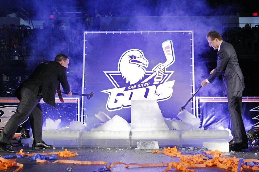 "Anaheim Ducks owner Henry Samueli, right, and CEO Michael Schulman unveiled the club's AHL San Diego Gulls at ""HockeyFest""."
