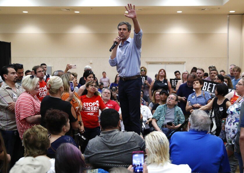 Former Rep. Beto O'Rourke of Texas speaks at a Las Vegas campaign event this month.