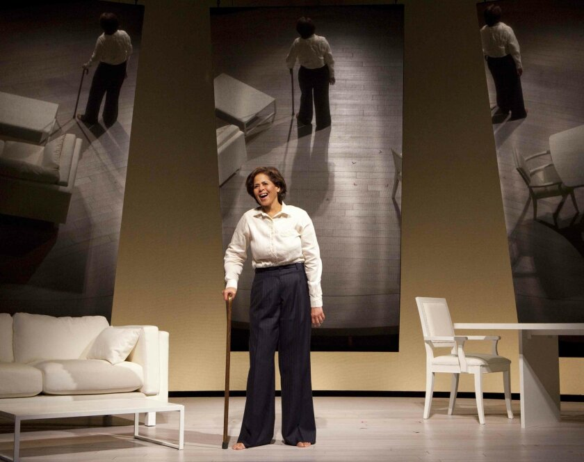 """Anna Deavere Smith in her solo play """"Let Me Down Easy."""" The piece, a production of Second Stage Theatre in New York, is being co-produced locally by San Diego Rep, La Jolla Playhouse and Vantage Theatre."""