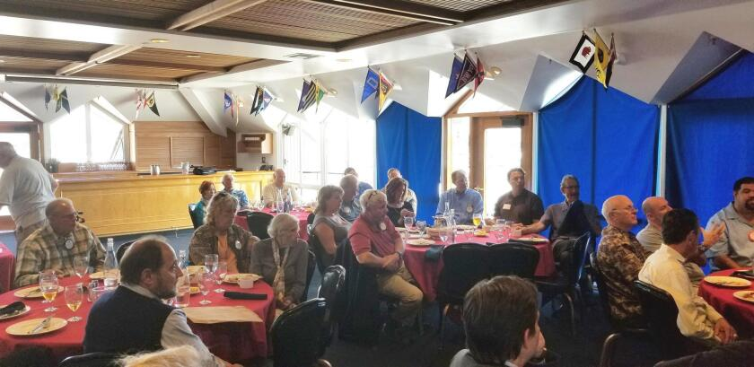 Point Loma Rotary Club members and guests listen to Police Chief David Nisleit's views on crime and public safety, April 12 at the San Diego Yacht Club.