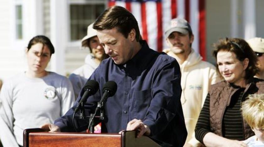 """""""With our convictions and a little backbone, we will take back the White House in November,"""" John Edwards says in New Orleans as he announces his withdrawal from the Democratic presidential race."""