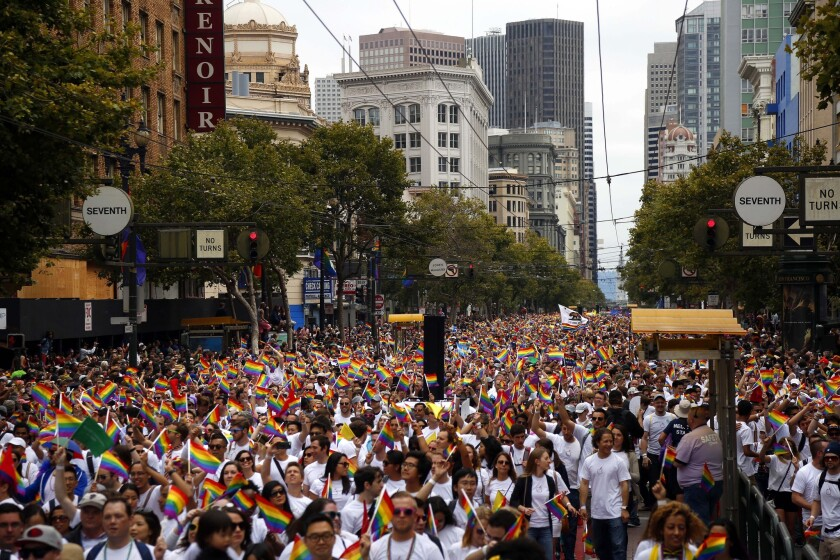 A sea of people celebrates during the 45th Annual San Francisco Pride Celebration & Parade held on Sunday, June 28, 2015.