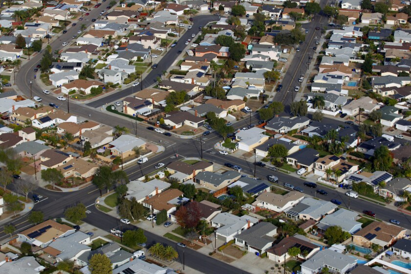 An aerial view of houses in the San Diego neighborhood of Clairemont.