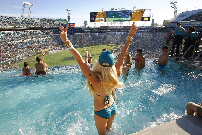 Jacksonville fan Susan Elle Harmon celebrates a Jaguars touchdown at Everbank Field against the Chargers.