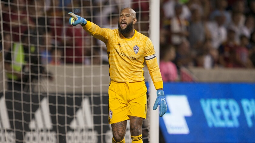 Colorado goalkeeper Tim Howard is shown during a game against Real Salt Lake on Aug. 24, 2019, in Sandy, Utah.