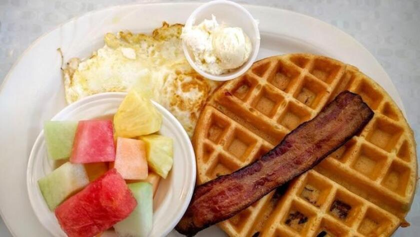 This classic diner is a long-running San Diego staple. Bacon lovers can rejoice in the bacon waffle, filled with real bacon pieces and topped with two farm-fresh eggs. We love the savory take on the typically sweet waffle breakfast. 1333 Hotel Circle South, Mission Valley. wafflespotsandiego.com (Amy T. Granite)