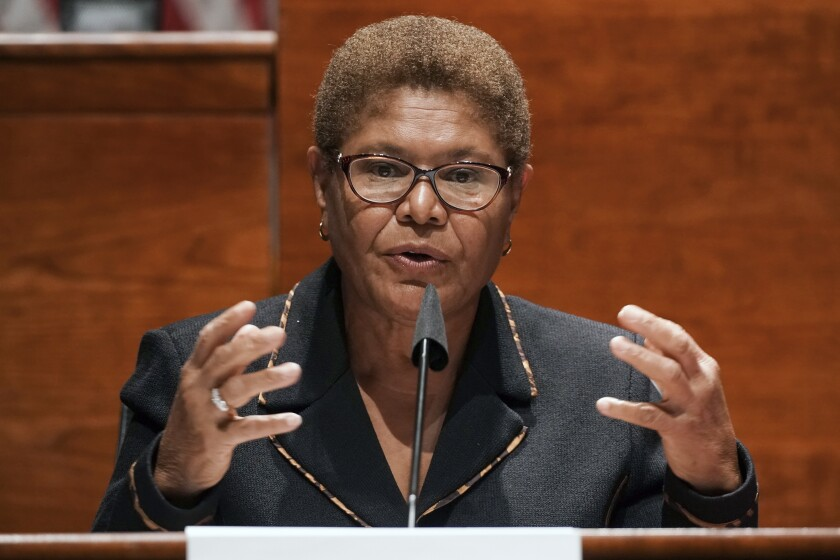 FILE - In this June 17, 2020, file photo, Rep. Karen Bass, D-Calif., speaks on Capitol Hill in Washington. Bass entered the 2022 race for Los Angeles mayor Monday, Sept. 27, 2021, shaking up an already crowded field hoping to replace outgoing Mayor Eric Garcetti. (Greg Nash/Pool Photo via AP, File)