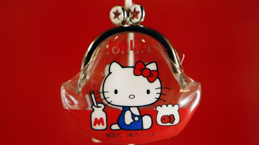LOS ANGELES, CA OCTOBER 08, 2014 - The first coin purse featuring Hello Kitty is on display on Octo