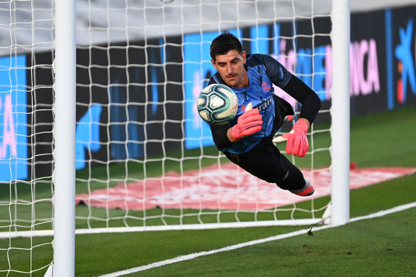 Real Madrid's Belgian goalkeeper Thibaut Courtois warms up before the Spanish League football match.