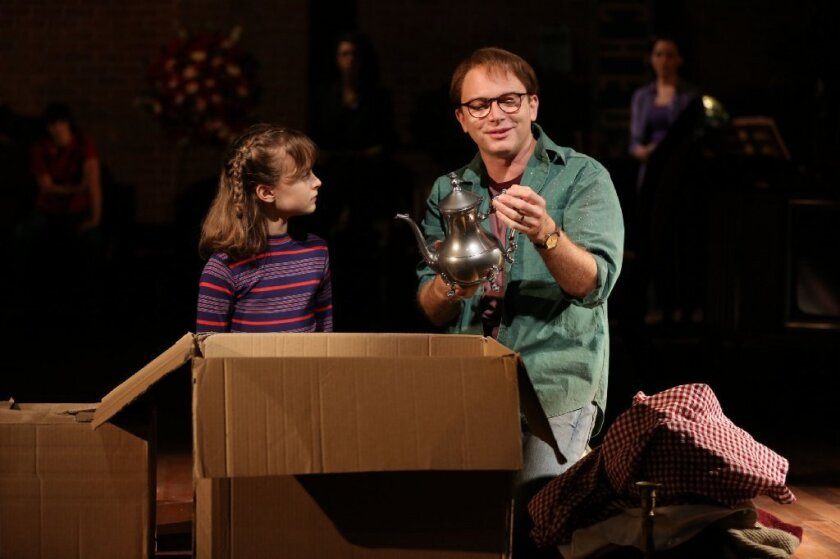 "Bechdel says she saw the 2013 production of ""Fun Home"" at New York's Public Theater eight times. Both Sydney Lucas, left, and Michael Cerveris,seen here in that production, moved with the play from the Public to Broadway -- and received Tony nominations."