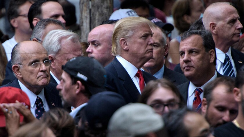 Donald Trump with Rudy Giuliani and Chris Christie
