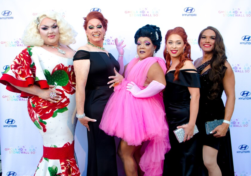 Eureka O'Hara, left, and the GMCLA Queens at the gala for the Gay Men's Chorus of Los Angeles.