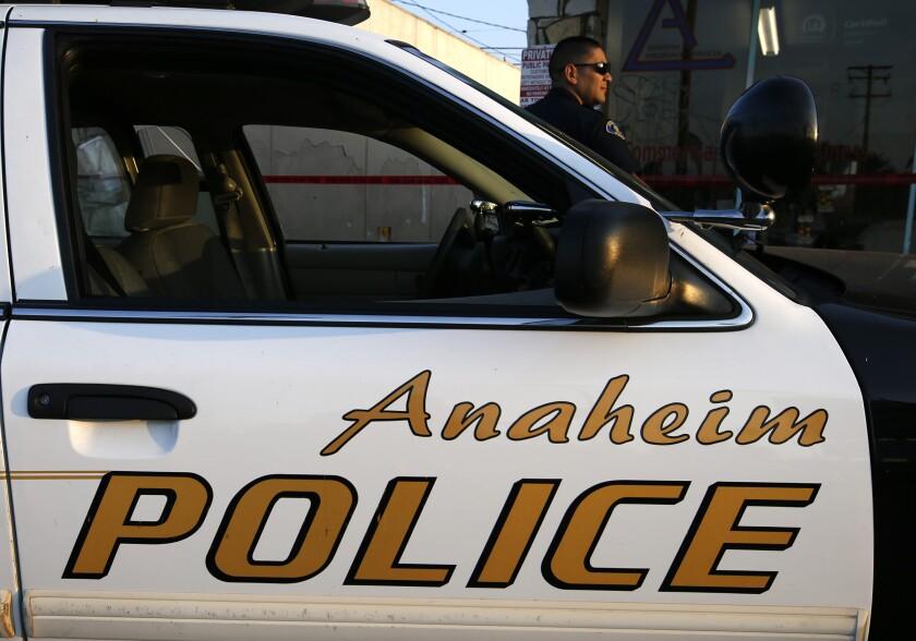 An Anaheim Police vehicle.