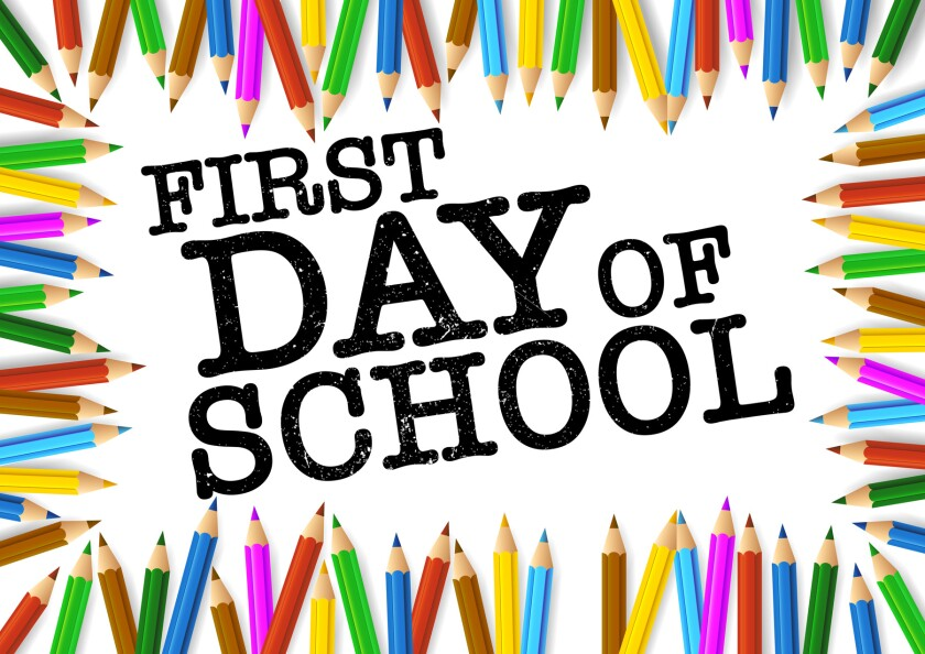 first day of school surrounded by colored pencils
