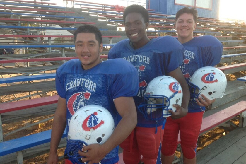 Crawford seniors (left to right) Luis Martinez, Courtney Roberts and Diego Cruz are four-year varsity players.