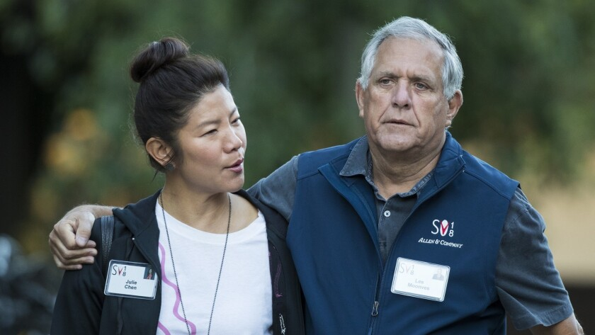 "Julie Chen and Leslie Moonves, who has stepped down as president and CEO of CBS Corp., arrive for a conference in Sun Valley, Idaho, in July. Chen, host of ""The Talk, "" is taking time off from the CBS daytime series in the wake of her husband's resignation."