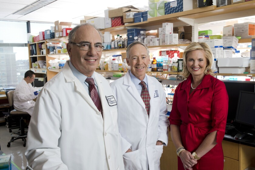 Ann Romney with Dr. Howard L. Weiner and Dr. Dennis J. Selkoe at Brigham and Women's Hospital in Boston, where the new Ann Romney Center for Neurological Diseases will be housed.