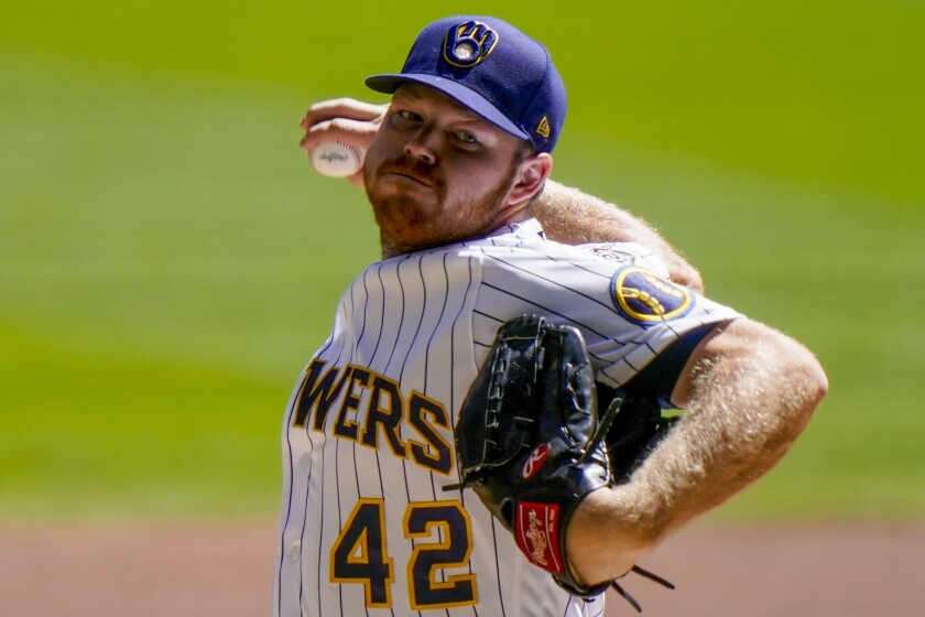 Milwaukee's Brandon Woodruff pitches against the Pittsburgh Pirates on Aug. 30.