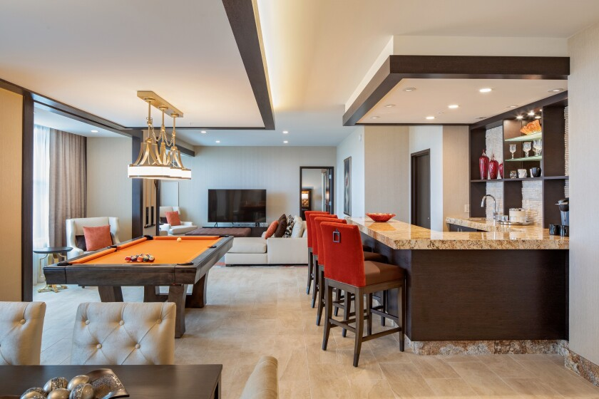 Soboba Casino Resort's new 200-room hotel features 1,800 square foot, two-bedroom presidential suites, with a pool table in the living area, off the wet bar.