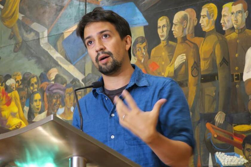 El dramaturgo y actor de origen puertorriqueño Lin-Manuel Miranda asiste a una rueda de prensa en San Juan (Puerto Rico). EFE/Archivo