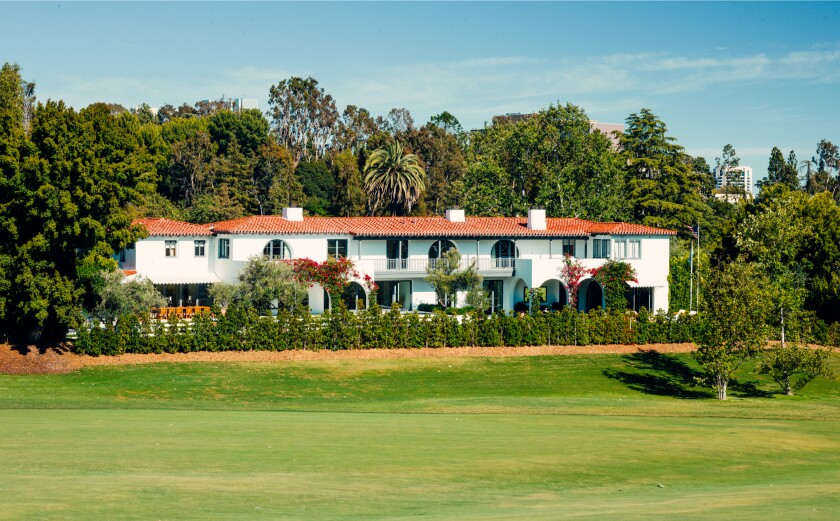 Overlooking Bel-Air Country Club, the Mediterranean-style mansion spans 12,000 square feet.
