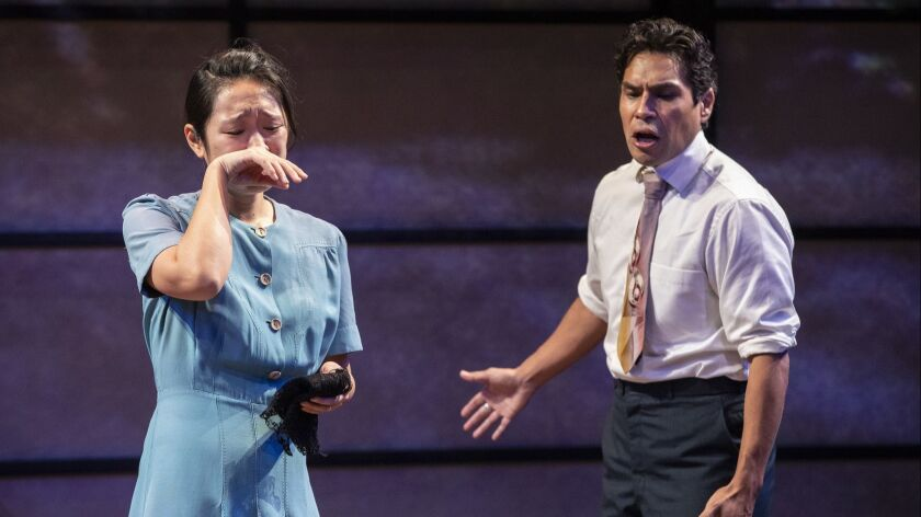 """Melanie Arii Mah portrays Thelma Yamaguchi and Lakin Valdez is Benjamin Montaño in Luis Valdez's """"Valley of the Heart"""" at the Mark Taper Forum."""