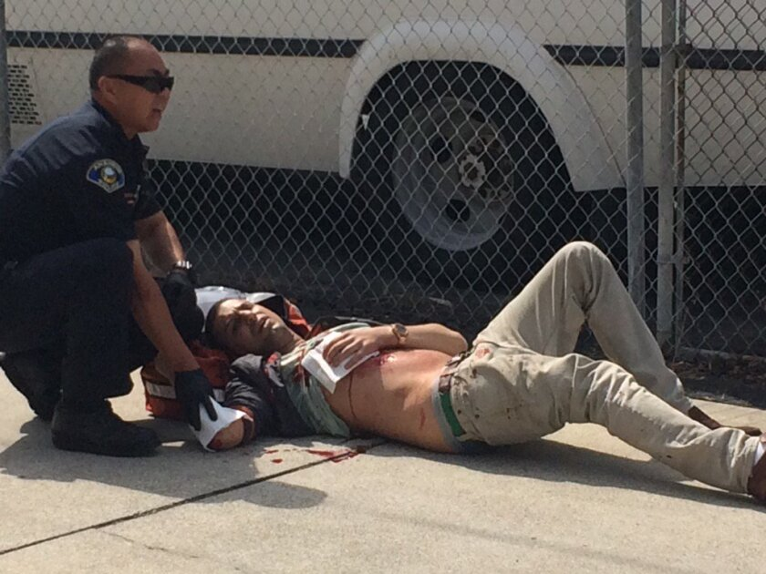 A protester was stabbed at the site of a Ku Klux Klan rally in Anaheim on Saturday.