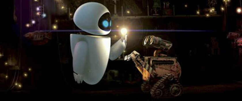 JUST NOT RIGHT: Eve lights up Wall-E's world, but many conservatives would like to pull the plug.