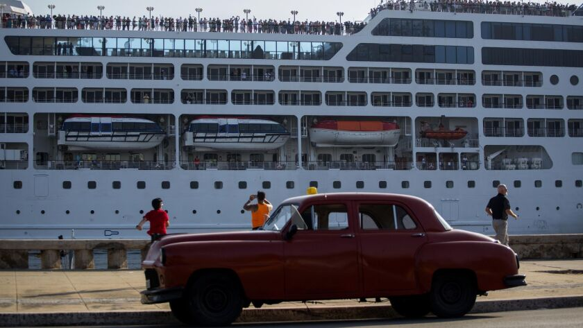 FILE - This May 2, 2016, file photo, shows the Adonia cruise ship arriving in Havana, Cuba, from Mia