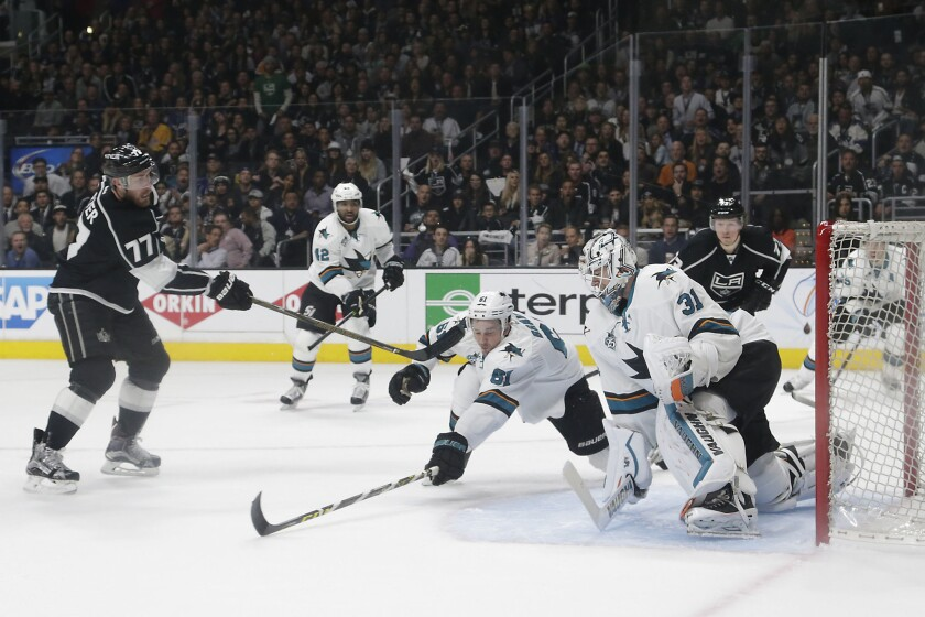 Kings forward Jeff Carter scores against the Sharks during Game 5 of the Stanley Cup playoffs at Staples Center on April 22.