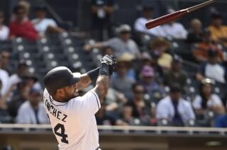 Padres' Hector Sanchez on runaway bat injuring fan