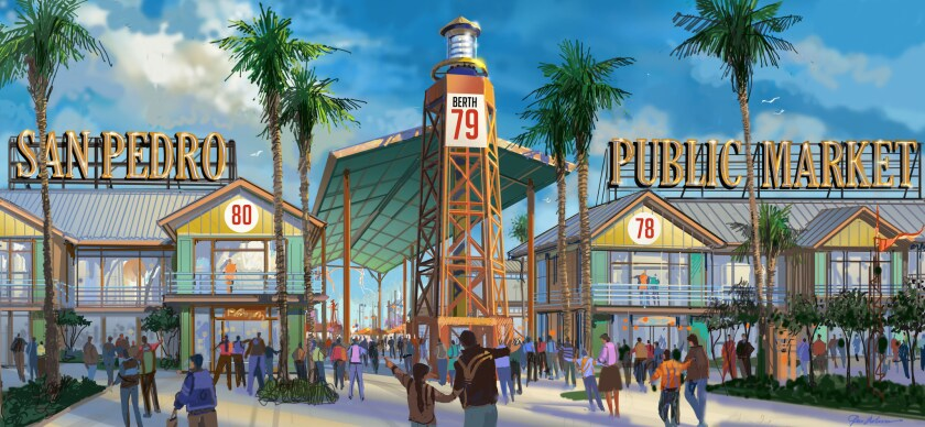 An artist's rending shows the San Pedro Public Market, a new development set to replace the aging Ports O' Call Village.