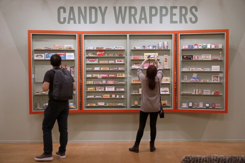 LOS ANGELES, CALIF. -- WEDNESDAY, OCTOBER 31, 2018: Candy Wrappers on loan from The Candy Wrapper Mu
