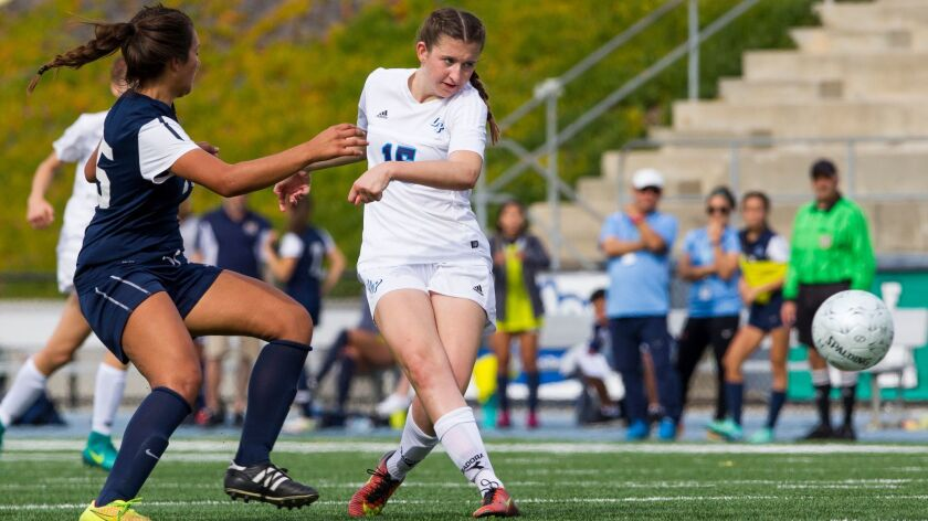 OLP's Ashlin Healy scores a goal in the San Diego Section final.