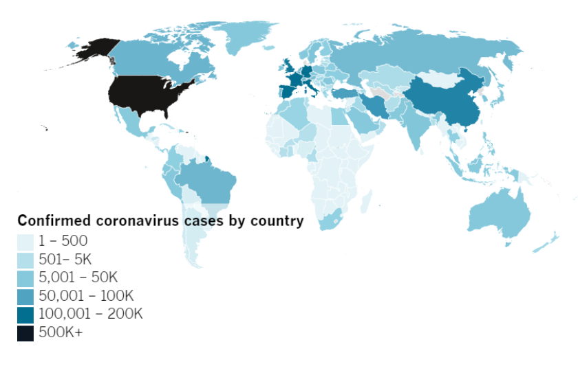 Confirmed COVID-19 cases by country as of 5:00 p.m. PDT Monday, April 13. Click to see the map from Johns Hopkins CSSE.