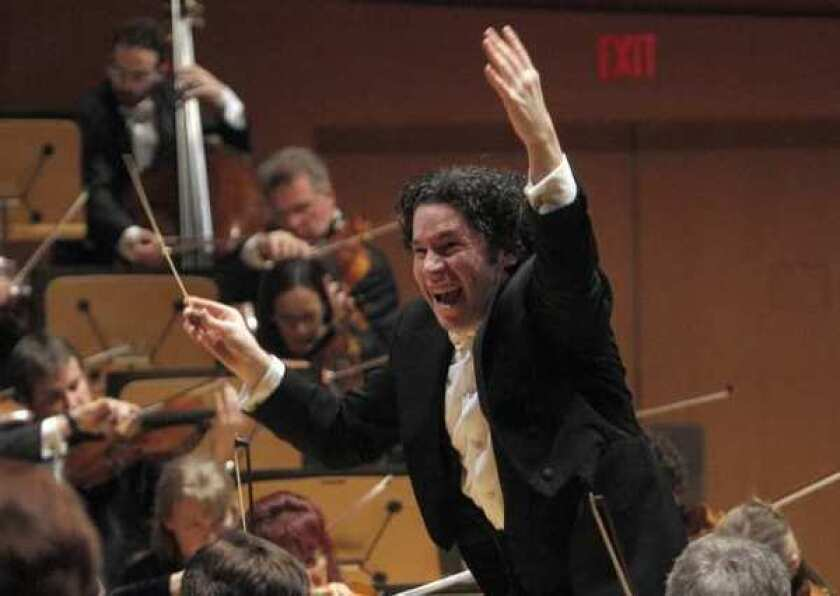 Gustavo Dudamel conducts the Los Angeles Philharmonic at Walt Disney Concert Hall earlier this year.