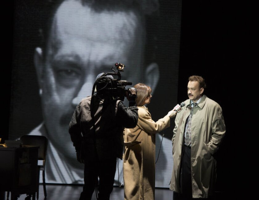 """Tom Hanks in a scene from the Nora Ephron play """"Lucky Guy."""""""