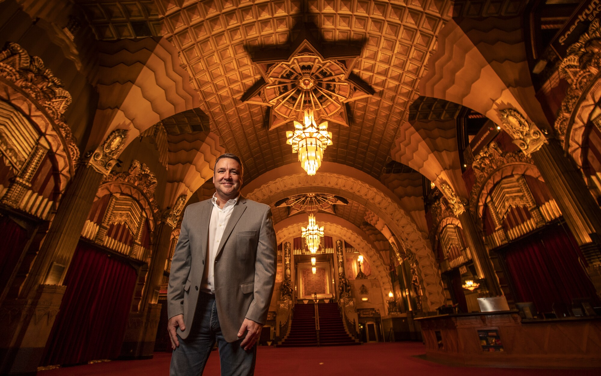 Jeff Loeb inside the grand lobby of the Pantages Theatre