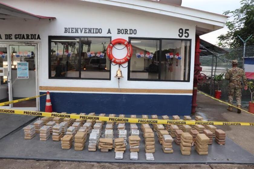 A photo provided on Nov. 30, 2018, by Panama's National Aeronaval Service (Senan) shows a consignment of drugs seized in Panama Bay. EPA-EFE/Courtesy of Senan