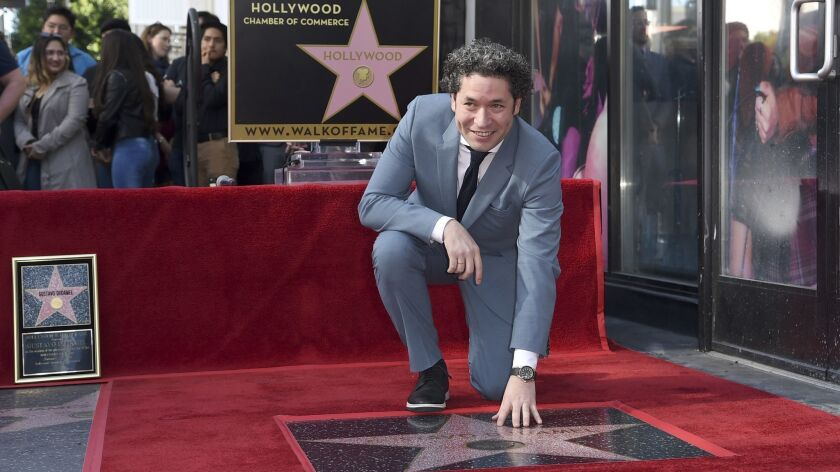 Gustavo Dudamel, director of the Los Angeles Philharmonic, at the presentation of his star at the Hollywood Walk of Fame.