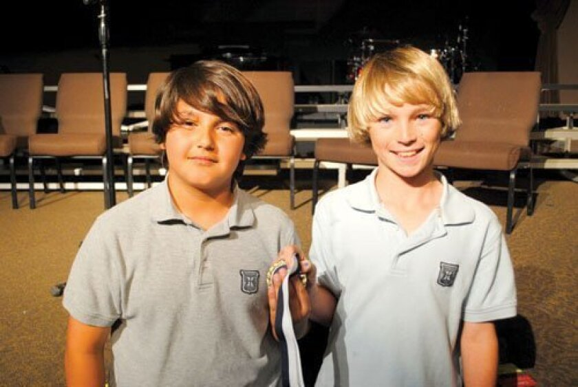 The fifth graders have a two-way tie for First Place in the Horizon Prep Spanish Speaking Bee:  (L-R) Sebastian Carpenter, Shane Telfer.