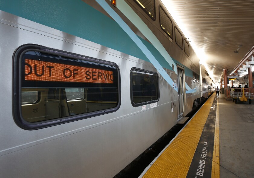 Metrolink trains idle at Union Station